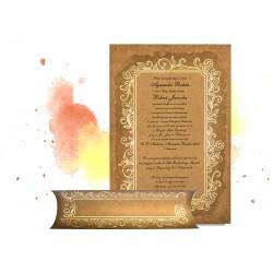 Brązowe zaproszenia ślubne zawiadomienia na ślub z pudełkiem i złoceniami - MODEL 0208