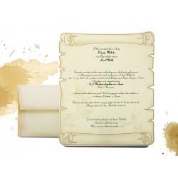 20 szt - Zaproszenia ślubne Postarzane, zawiadomienia na ślub z kopertą w formie listu - MODEL 0209