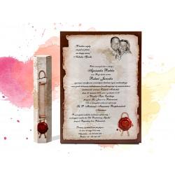Zaproszenia ślubne zawiadomienia na ślub w formie rulonu z pudełkiem - MODEL 0207