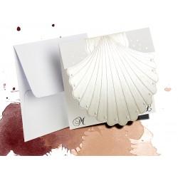 Perłowe zaproszenia ślubne zawiadomienia na ślub w kształcie muszli z kopertą - MODEL 0171