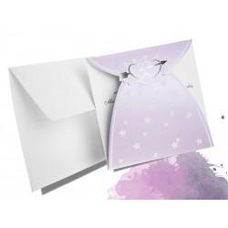 Tłoczone fioletowe perłowe zaproszenia ślubne zawiadomienia na ślub - MODEL 0220