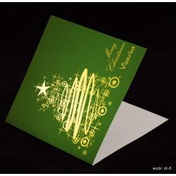100 szt. - Kartki świąteczne z życzeniami i nadrukiem logo firmy + złocenie - różne wzory
