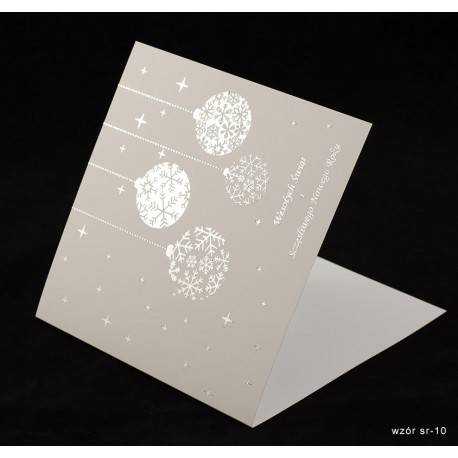 Kartki świąteczne z życzeniami i nadrukiem logo firmy + złocenie - 100 szt.