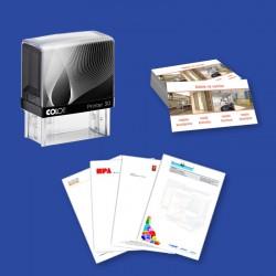 Pakiet startowy 2: pieczątka firmowa + wizytówki + papier firmowy
