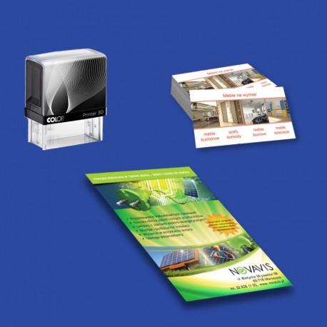 Pakiet startowy 3: pieczątka firmowa + wizytówki + ulotki A5