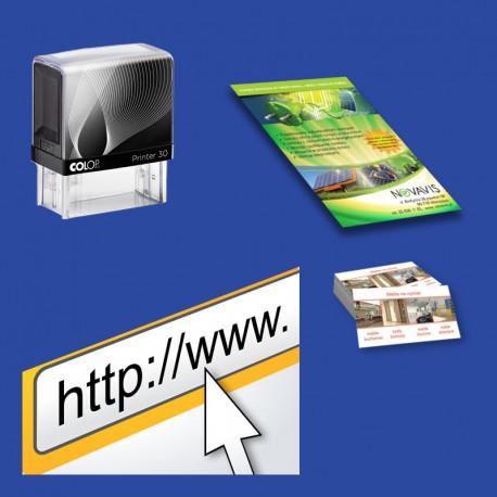 Pakiet startowy 5: pieczątka firmowa + wizytówki + ulotki A5 + wizytówka www